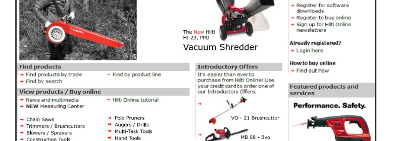 Mocked-up website which shows Hilti's gardening tools.